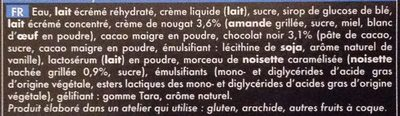 Chocolat noir nougat Crème glacée au chocolat noir Crème glacée au nougat noisettes caramélisées - Ingrédients - fr