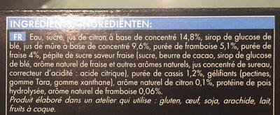 Buchettes Glacées Citron - Fruits Rouges - Ingrédients