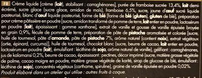 Bûche Pâtissière Vanille - Framboise et Citron kalamansi - Ingredients