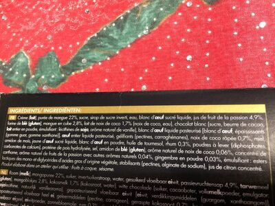 Bûche pâtissière Mangue - Passion - Noix de coco - Ingredients