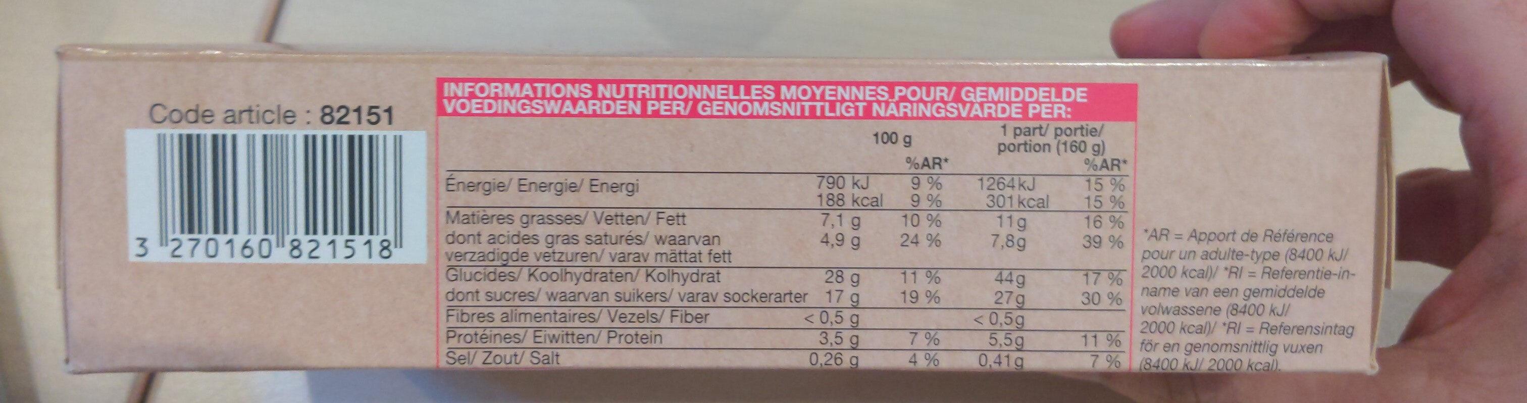 Flan Pâtissier Surgelé - Valori nutrizionali - fr