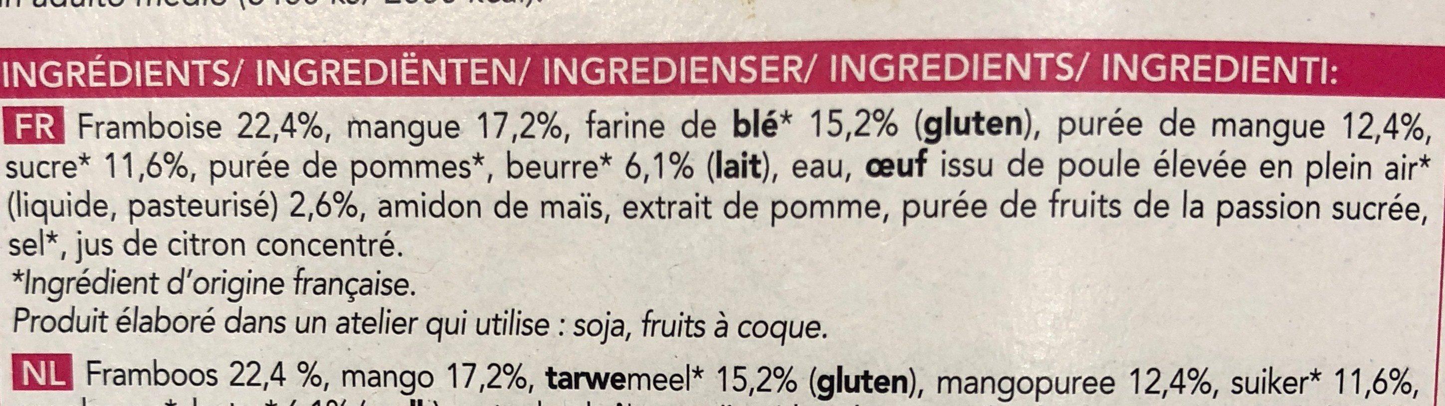 Tarte à la mangue et aux framboises - Ingrediënten - fr