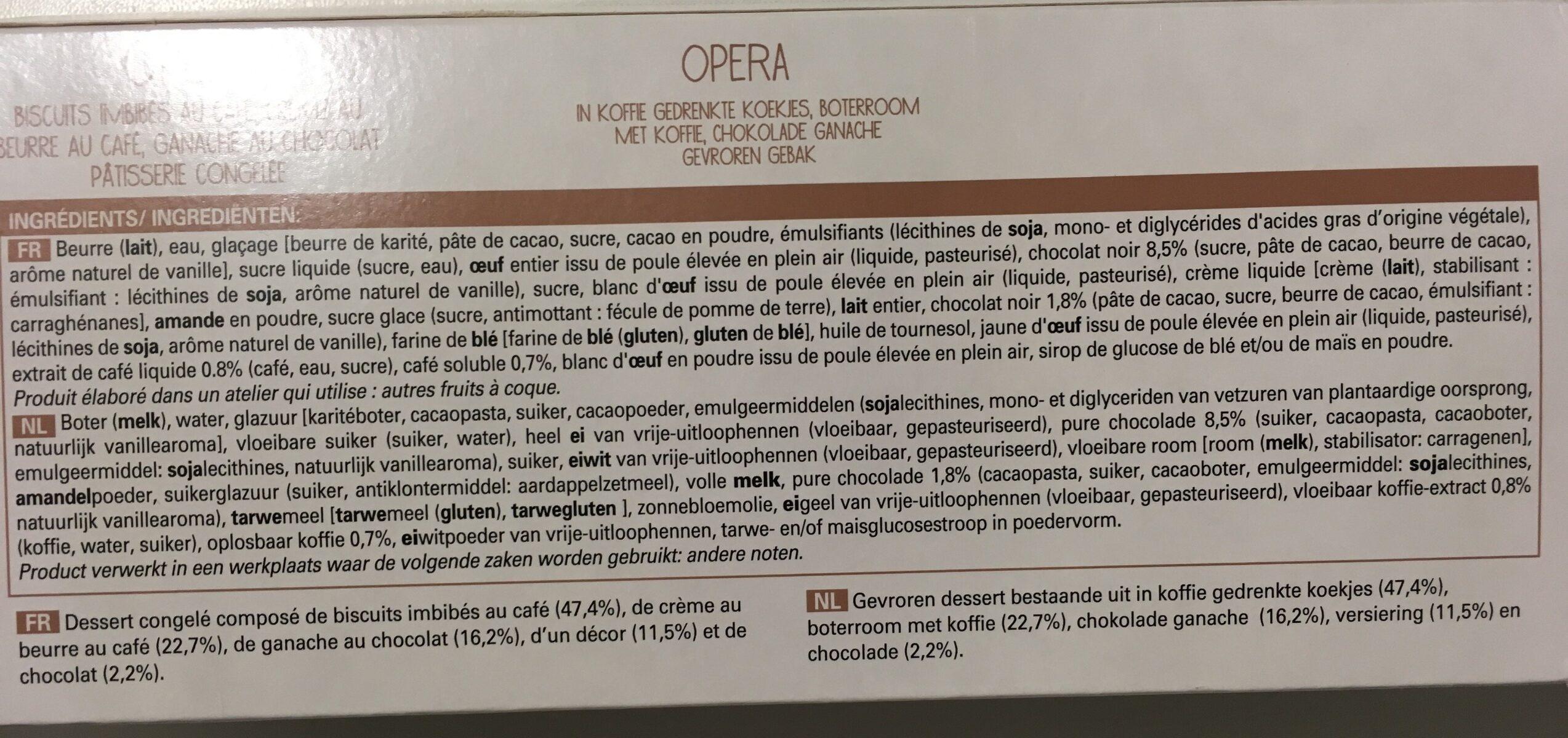 Opéra - Ingrédients - fr