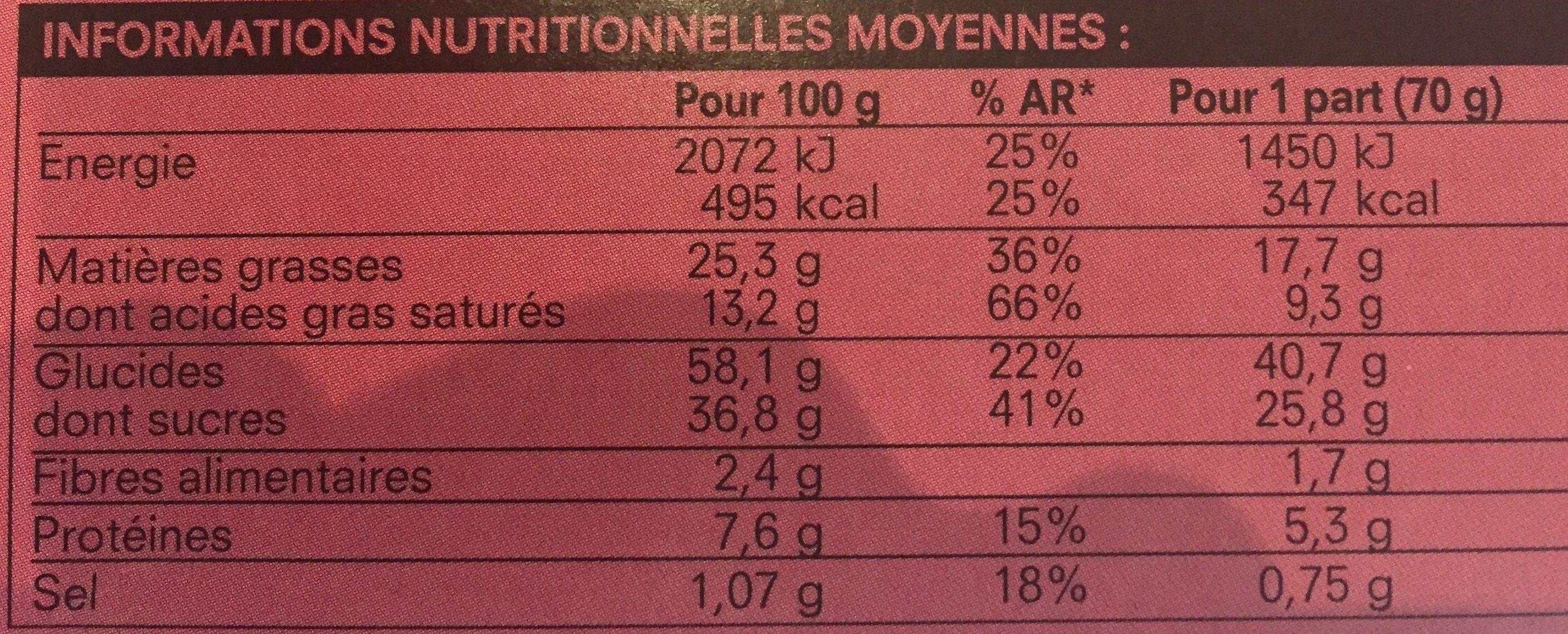 2 Cookies au Chocolat et à la Noisette - Voedingswaarden - fr