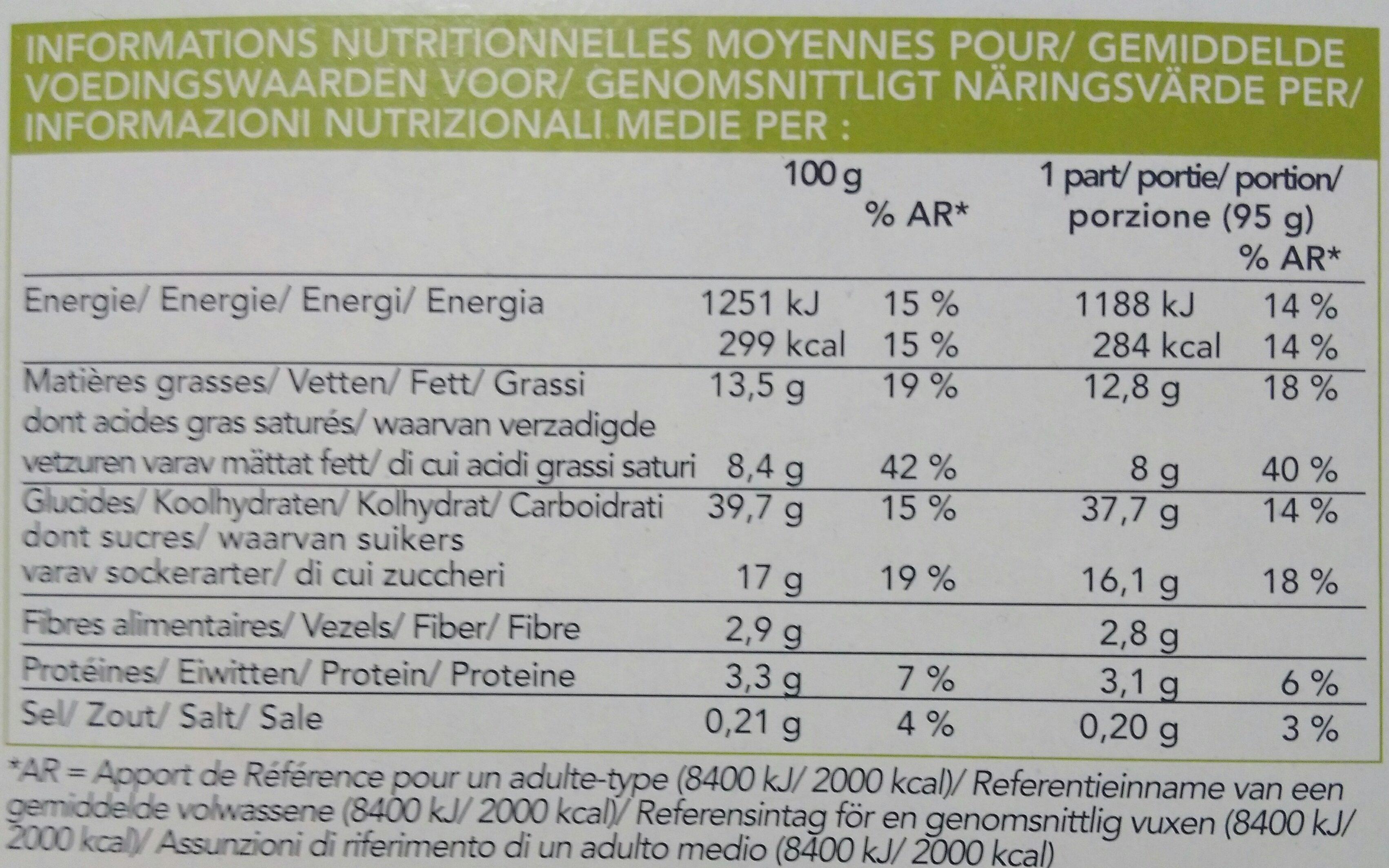 Tarte Façon Crumble à la Poire et à la Pomme - Voedingswaarden - fr