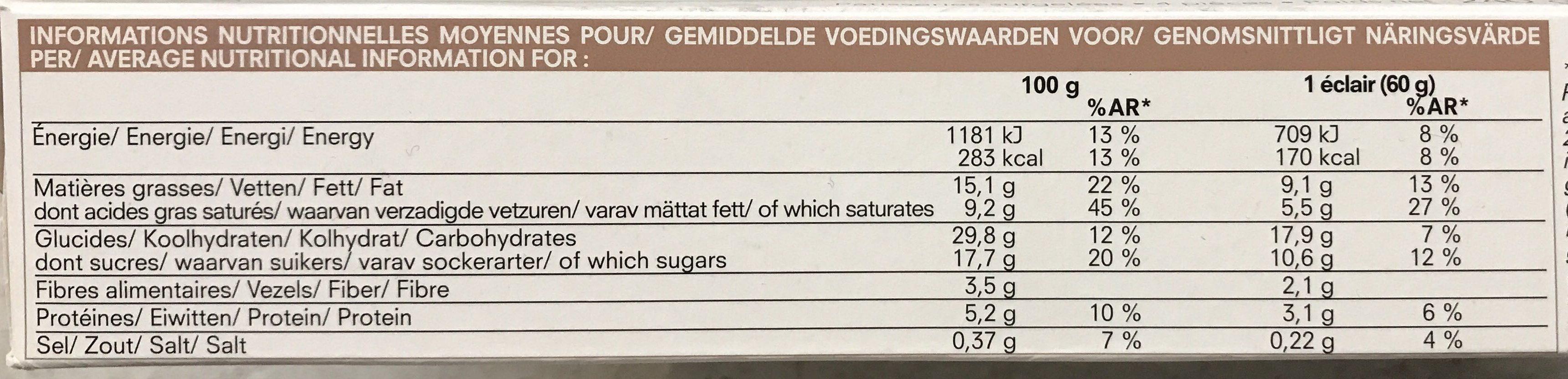 4 Éclairs au Chocolat - Informations nutritionnelles - fr
