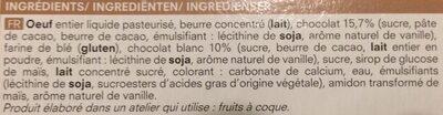 Moelleux Chocolat et Chocolat Blanc - Ingrédients