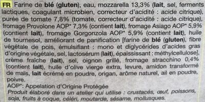 Pizza aux 4 fromages - Ingredients