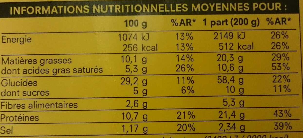 Pizza aux 4 fromages - Nutrition facts