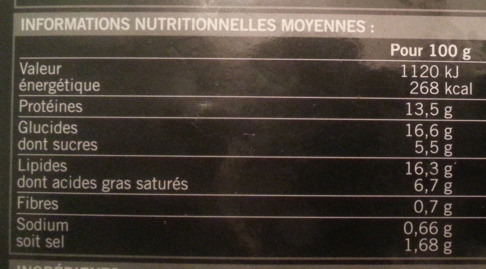12 crevettes apéritives - Voedingswaarden