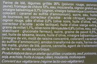 Les Pizzas Créatives (Légumes grillés, chèvre, chutney d'olives noires) - Ingrédients