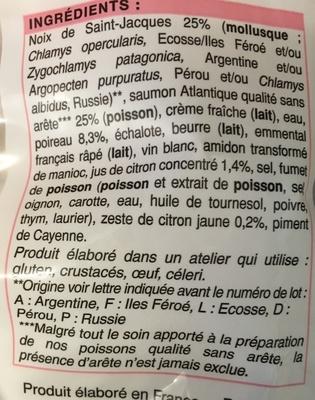 2 Coquilles aux Noix de Saint-Jacques* et Saumon, Fondue de Poireaux, Sauce Citronnée - Ingredients