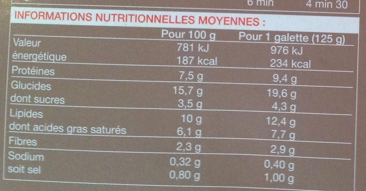 2 galettes au sarrasin tomates mozzarella basilic - Nutrition facts
