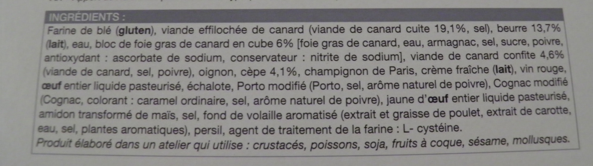 Tourte canard, cèpes, bloc de foie gras de canard - surgelée 450 g - Ingredients - fr
