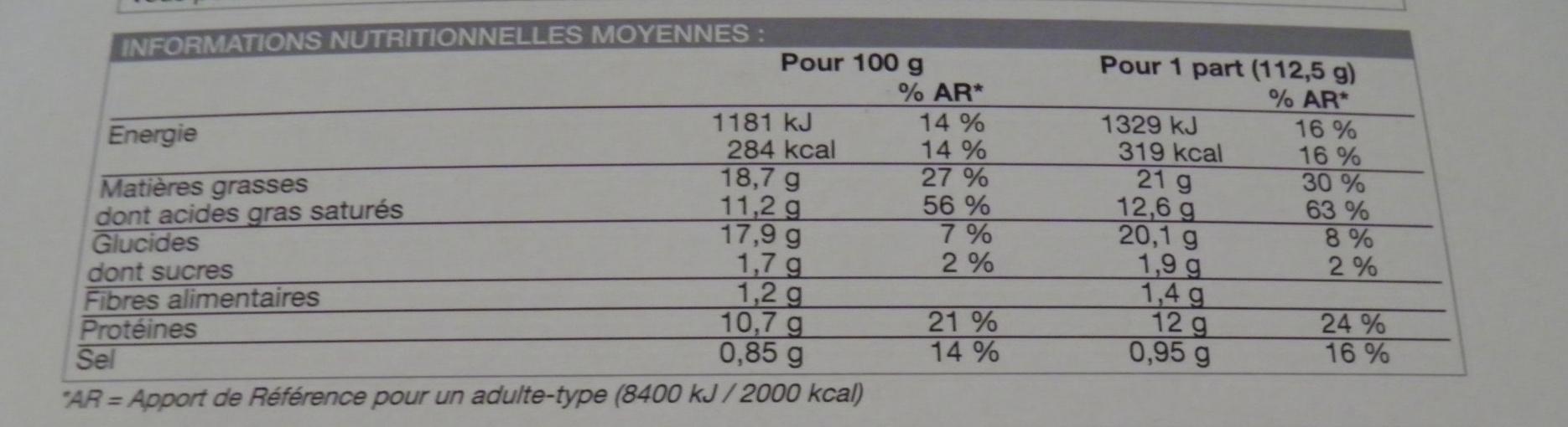 Tourte canard, cèpes, bloc de foie gras de canard - surgelée 450 g - Informations nutritionnelles