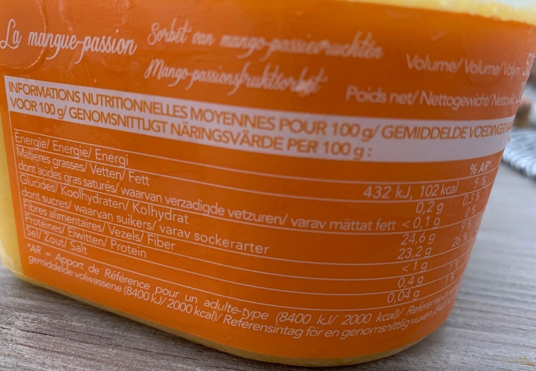 Sorbet mangue passion - Valori nutrizionali - fr