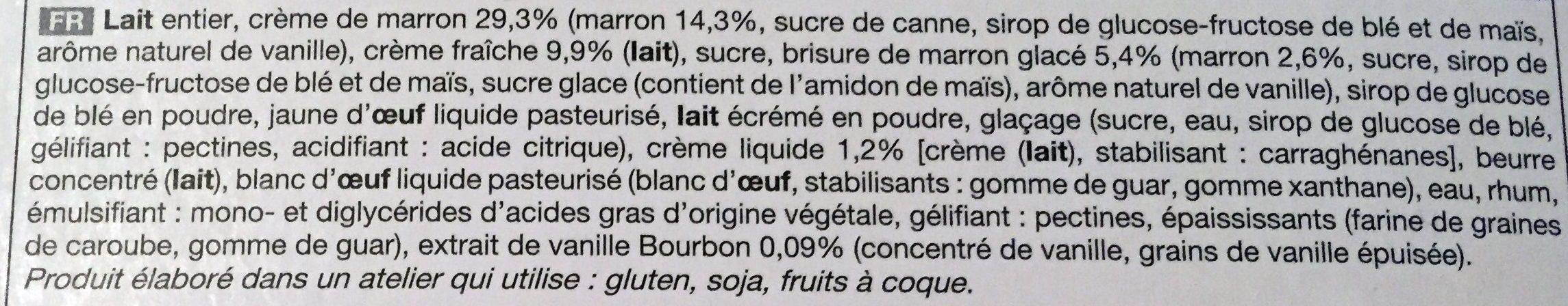 Bûche glacée marron-vanille - Ingredientes - fr