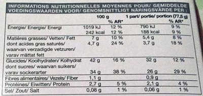Bûche glacée marron-vanille - Informação nutricional - fr