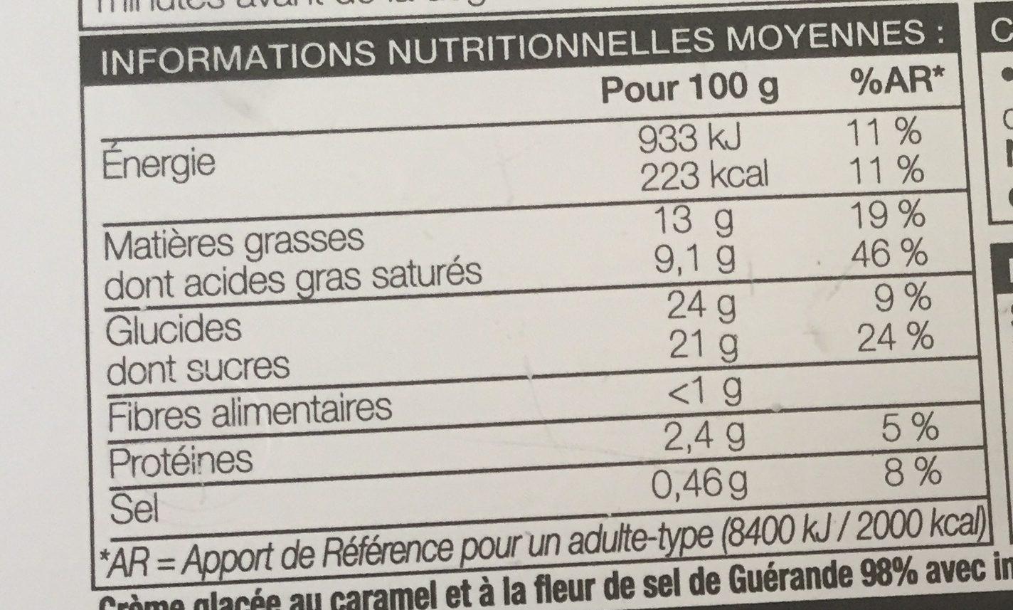 Crème glacee caramel fleur de sel - Información nutricional