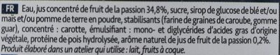 Sorbet FOU de Passion - Ingrédients