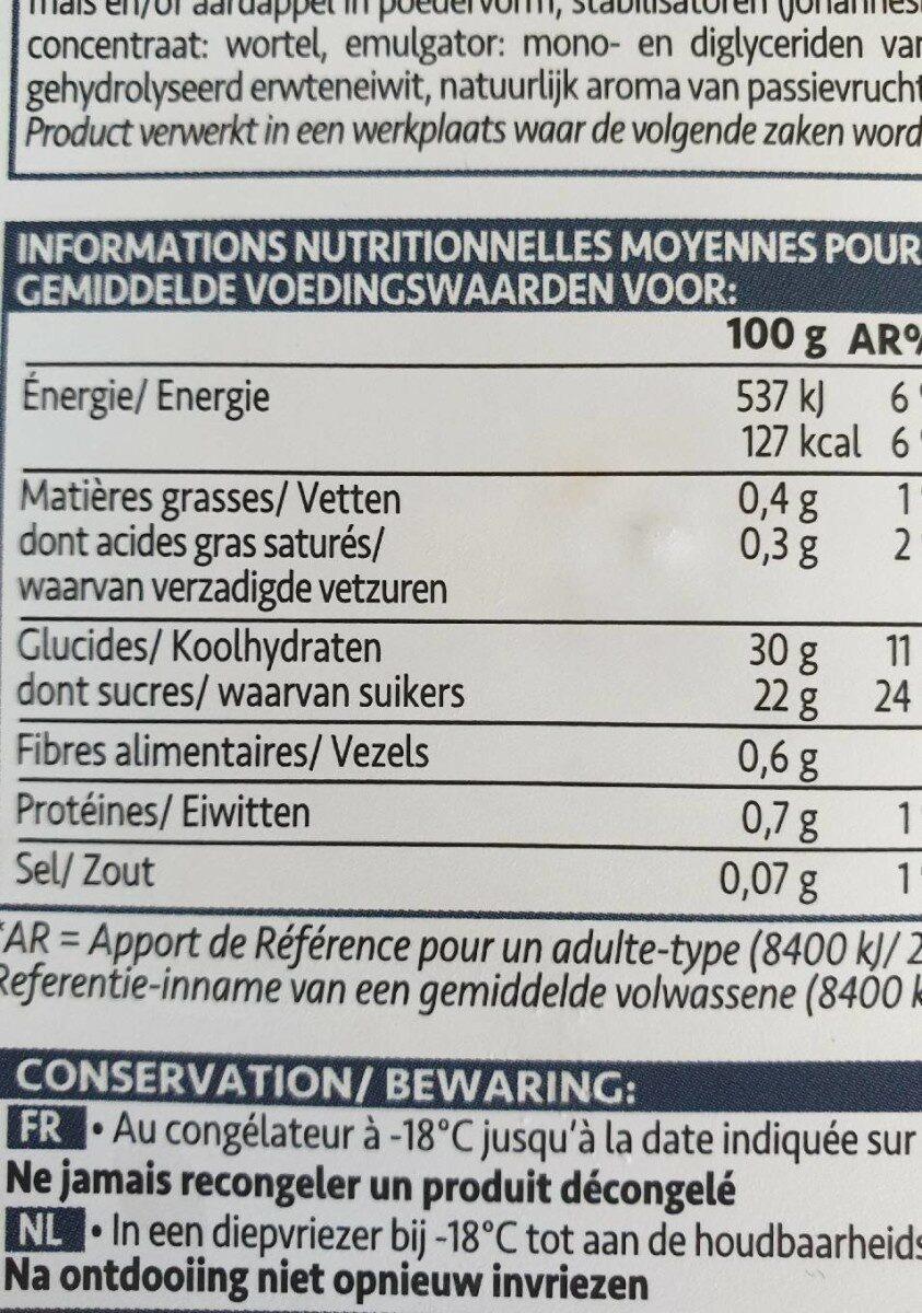 Sorbet Passion - Valori nutrizionali - fr