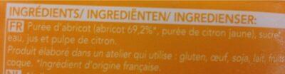 Sorbet abricot - Ingredients - fr