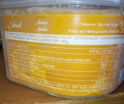 Sorbet abricot - Nutrition facts - fr