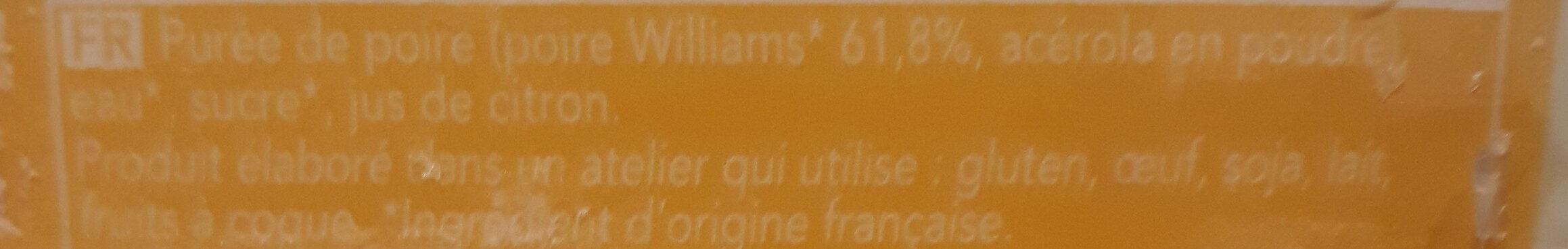 La poire - Ingrédients - fr