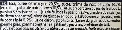 FOU de Mangue-Noix de Coco - Ingrédients - fr