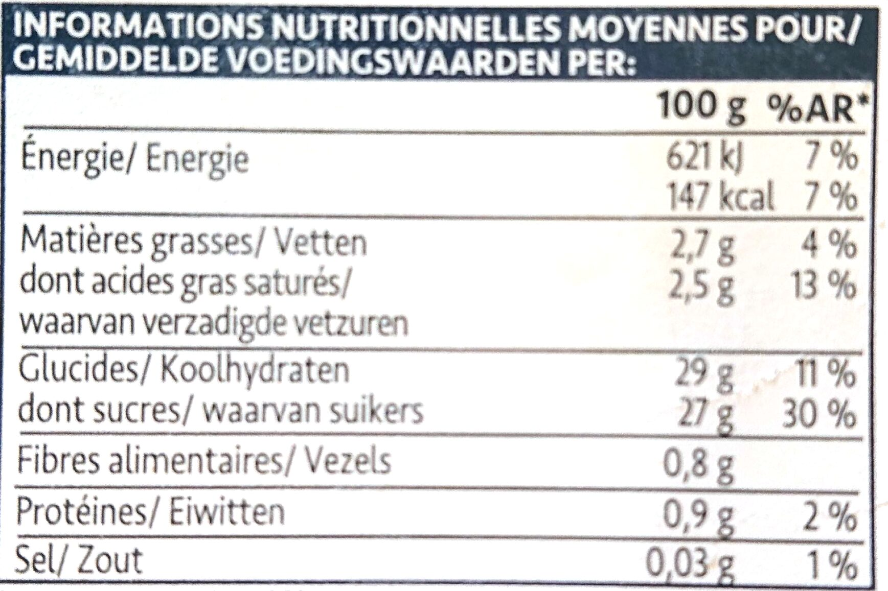 FOU de Mangue-Noix de Coco - Informations nutritionnelles - fr