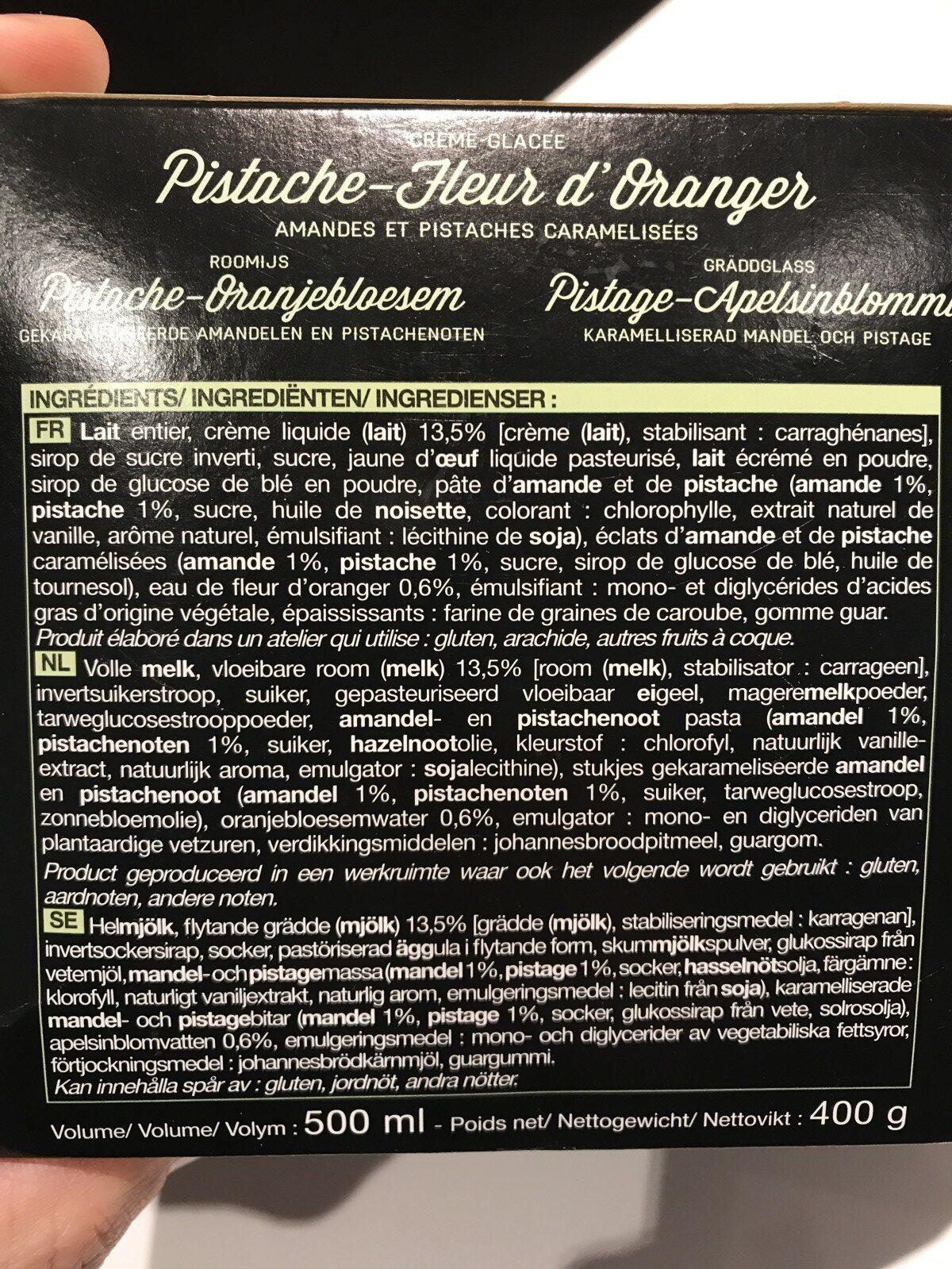 Creme glacée Pistache Fleur d'oranger - Amandes et pistaches - Ingrediënten