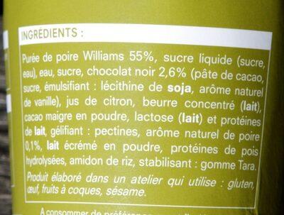 Sorbet Poire sauce Chocolat - Ingrédients - fr