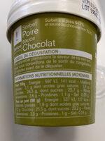 Sorbet Poire sauce Chocolat Picard - Nutrition facts