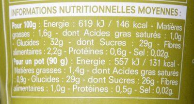 Sorbet Poire sauce Chocolat - Informations nutritionnelles - fr