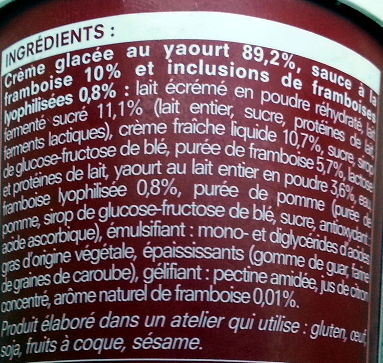 Crème glacée Yaourt sauce framboise - Ingredients