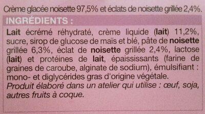 Les glaces à l'italienne - Noisette - Ingrediënten - fr