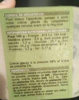 Glace à l'italienne - pistache - Ingrédients