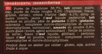 Glace Framboise Picard - Ingredients