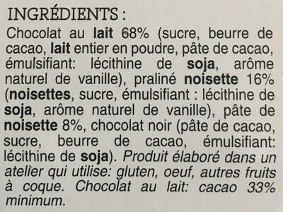 12 œufs chocolat au lait praliné noisette - Ingredients