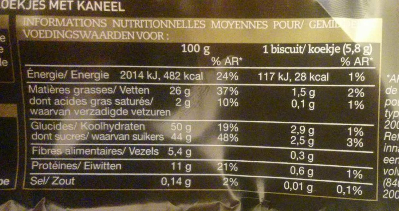 Biscuits Étoiles Cannelle - Información nutricional
