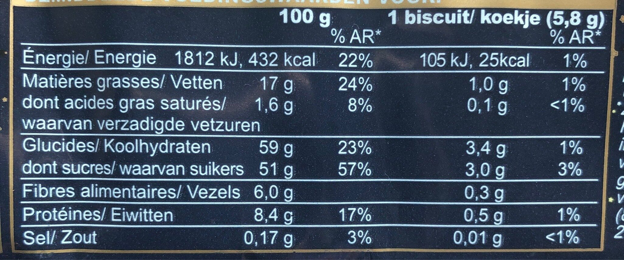 Biscuits Etoile Cannelle - Informations nutritionnelles - fr