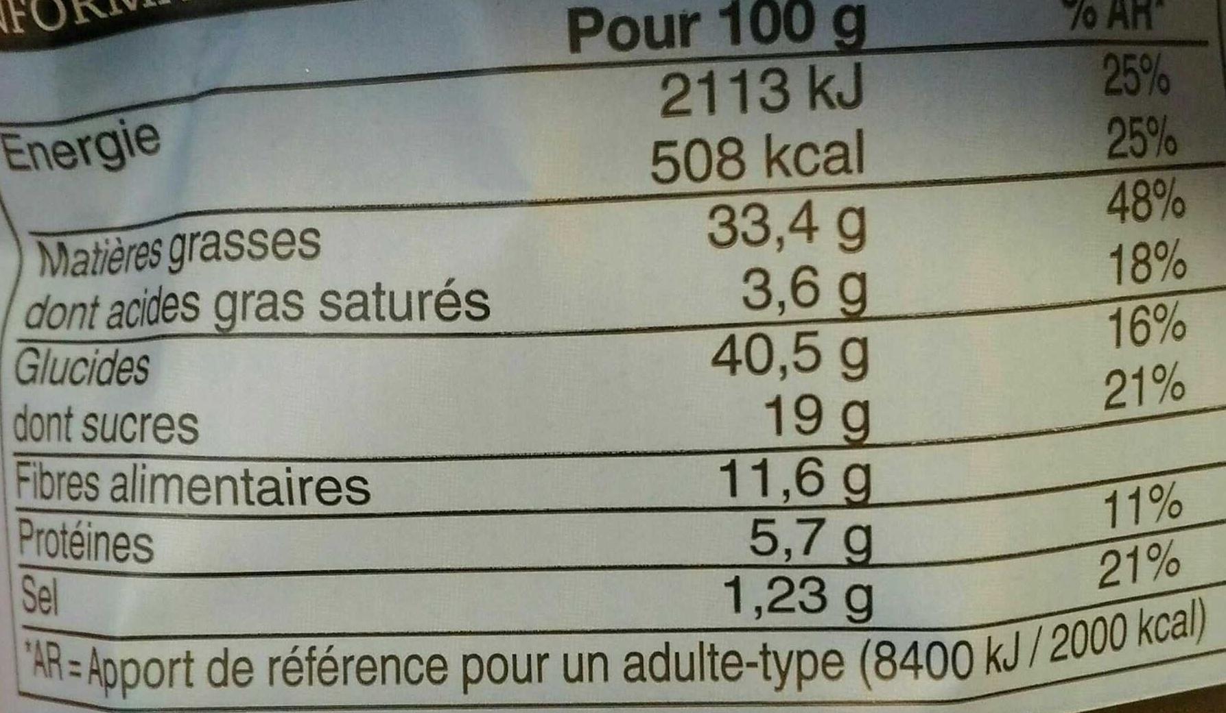 A l heure de chips de légumes - Voedingswaarden - fr
