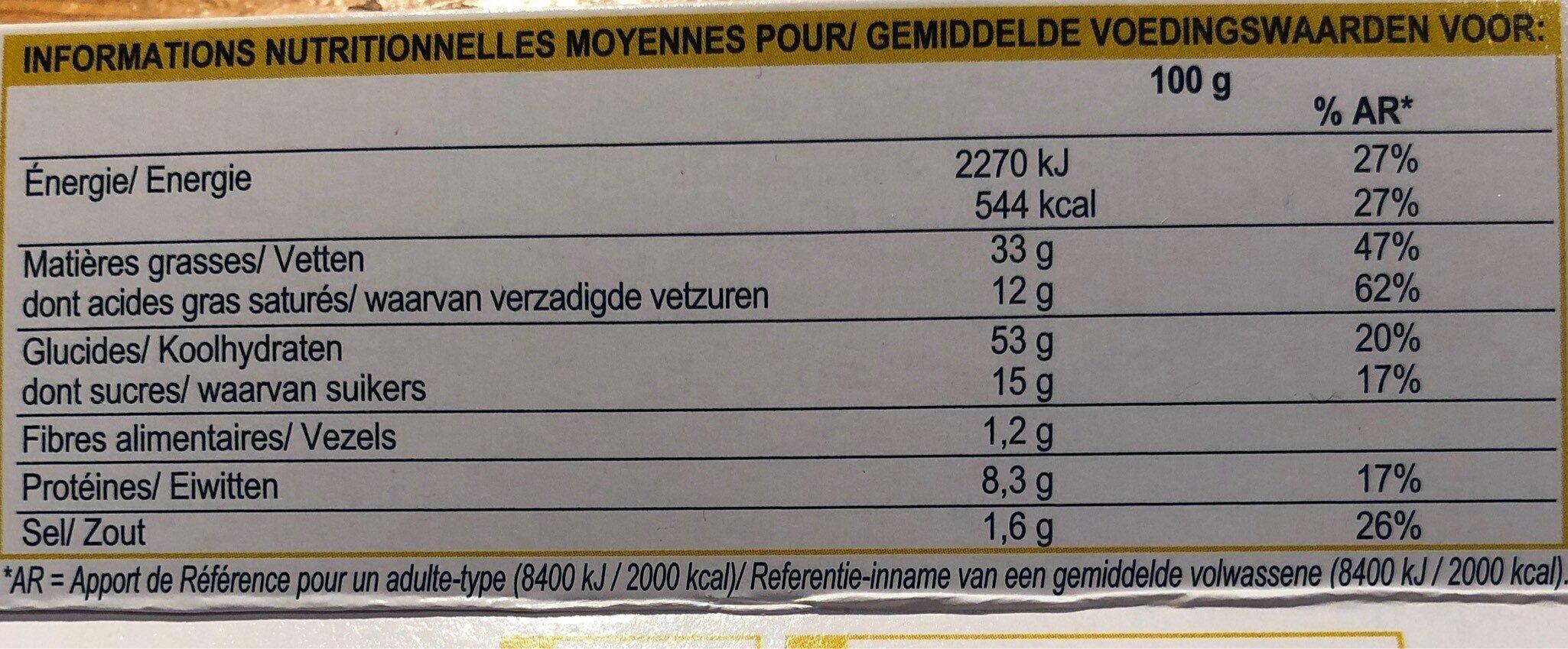 Mini-crêpes au Roquefort - Informations nutritionnelles
