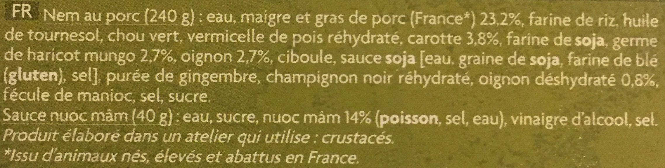 Nems au Porc - Ingrédients