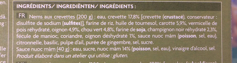 Nems aux crevettes avec sauce nuoc mâm - Ingredienti - fr