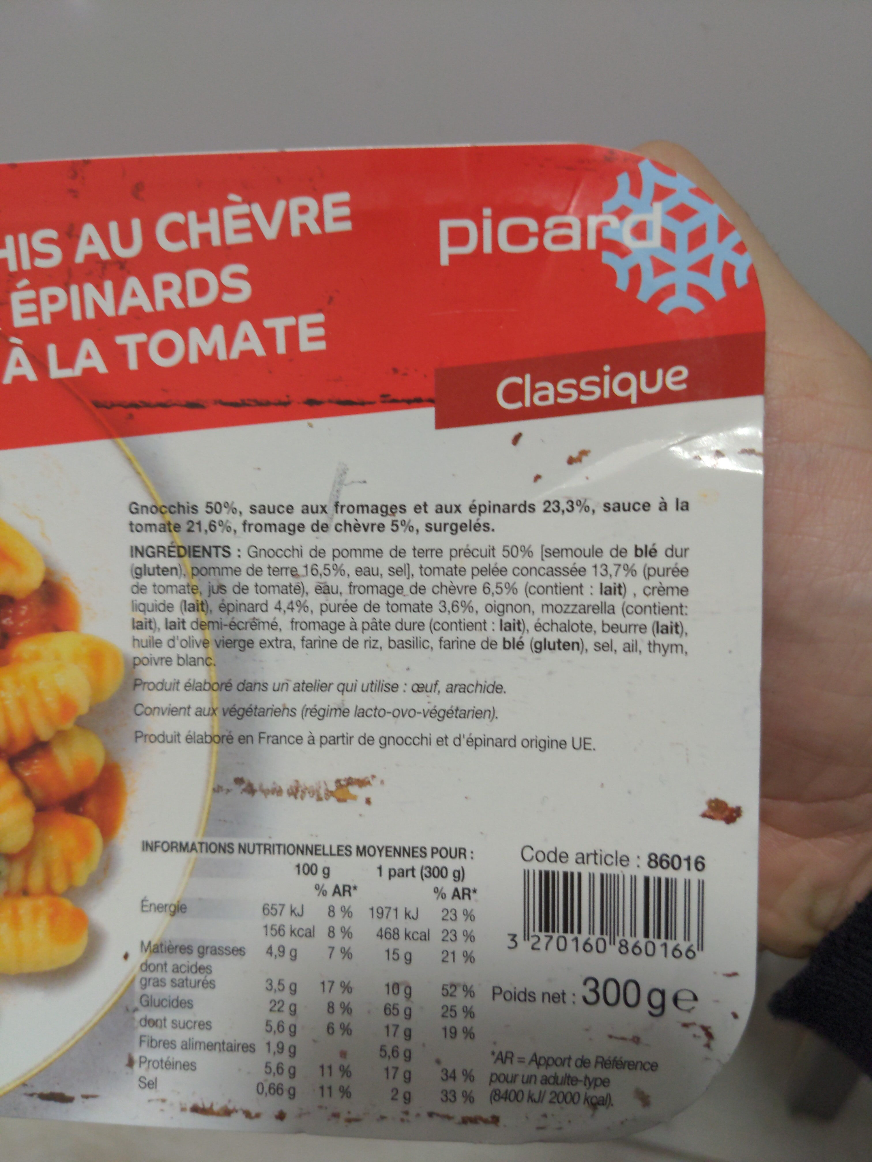 Gnocchis au chèvre et aux épinards - Ingrédients - fr