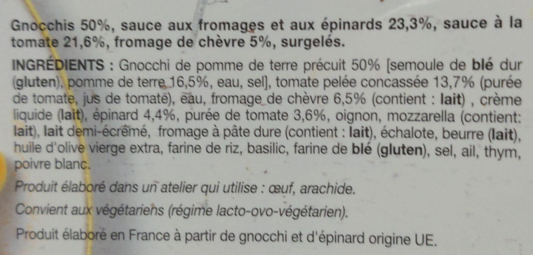 Gnocchis au chèvre et aux épinards sauce tomate - Ingrediënten - fr