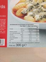 Gnocchis au chèvre et aux épinards - Informations nutritionnelles
