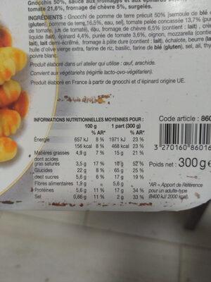 Gnocchis au chèvre et aux épinards - Informations nutritionnelles - fr