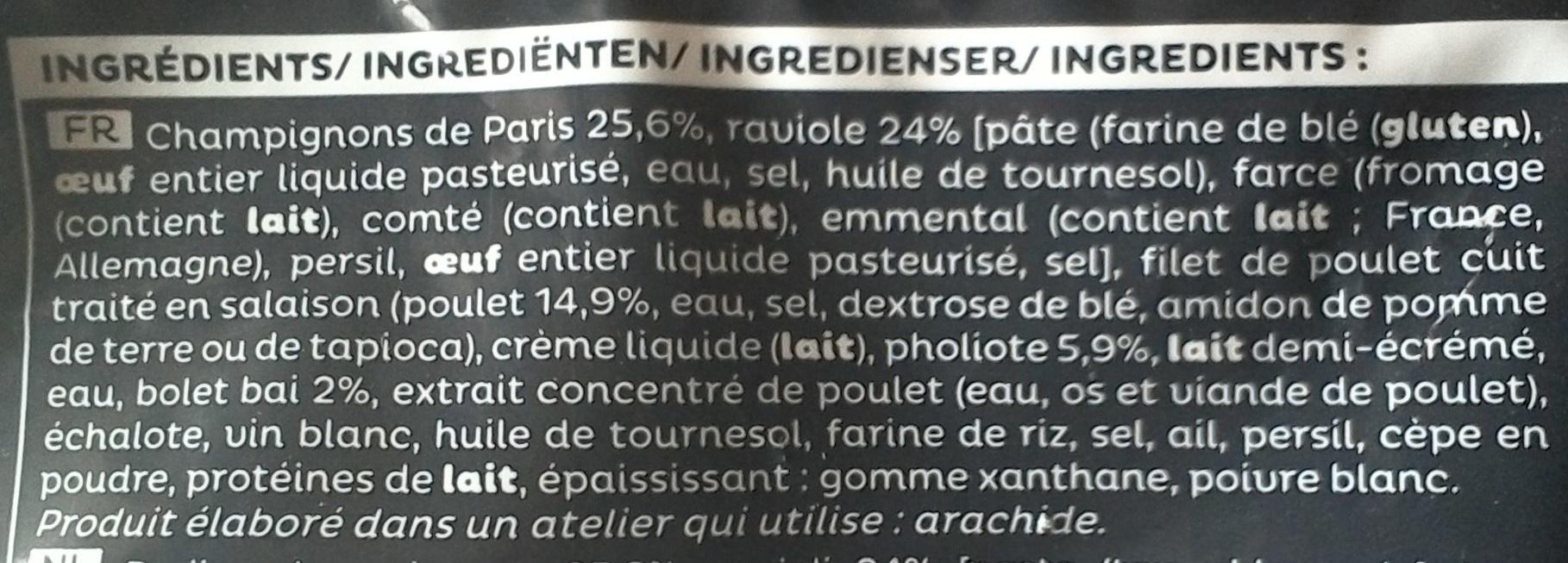 Poêlée de ravioles poulet champignons - Ingredients